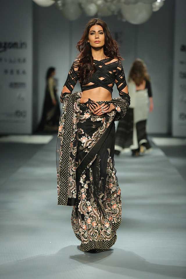 Suneet Varma -black-saree-striped-blouse-amazon-india-autumn-winter-2017-collection-fashion-show