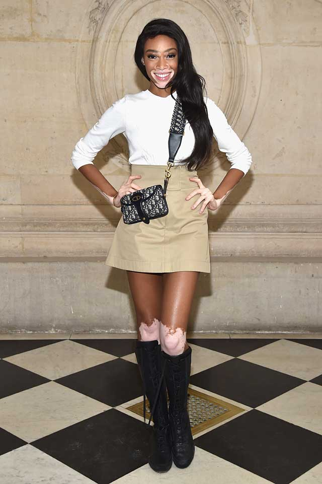 Winnie Harlow-dior-fw17-rtw-fall-winter-2017-celeb-style-high-waist-skirt-boots
