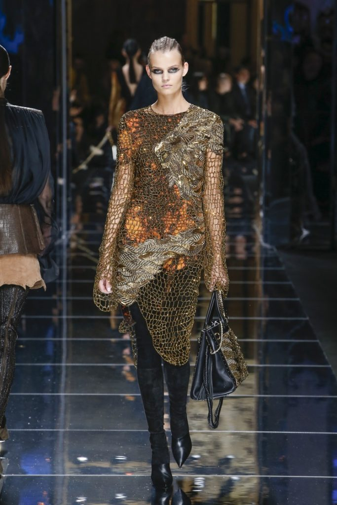 balmain-fw17-rtw-fall-winter-2017-18-collection (16)-knitted-metallic-top-dress