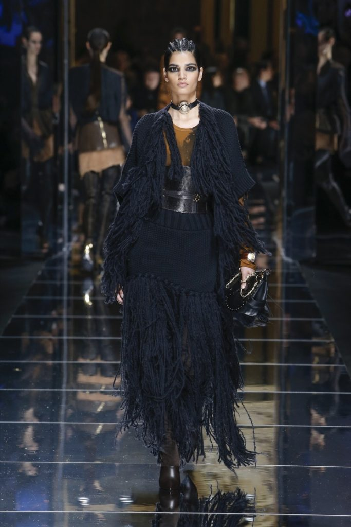 balmain-fw17-rtw-fall-winter-2017-18-collection (17)-fringes-dress