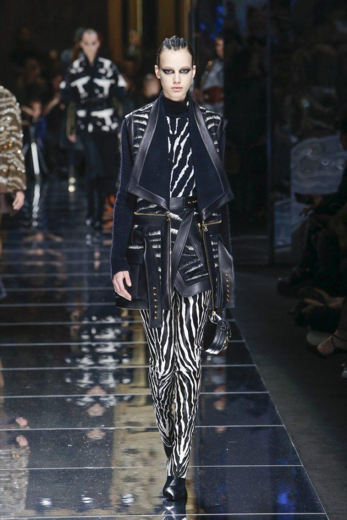 balmain-fw17-rtw-fall-winter-2017-18-collection (43)-black-white-stripes-outfit