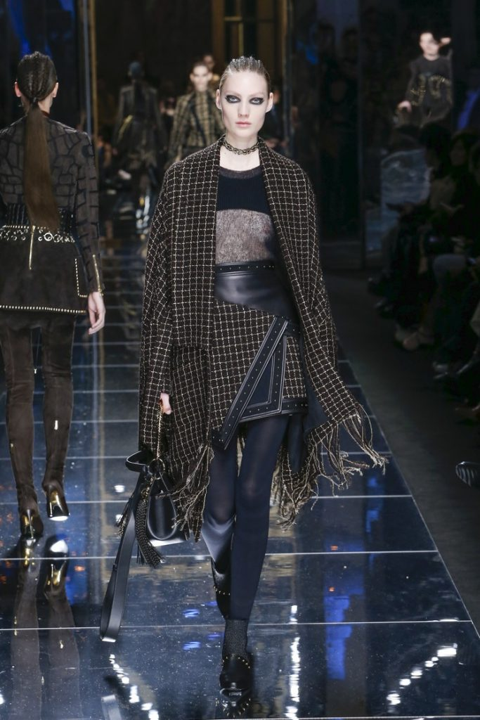 balmain-fw17-rtw-fall-winter-2017-18-collection (53)-fringes-checks-sheer