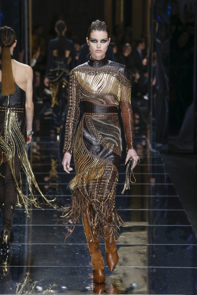 balmain-fw17-rtw-fall-winter-2017-18-collection (64)-fringes-dress