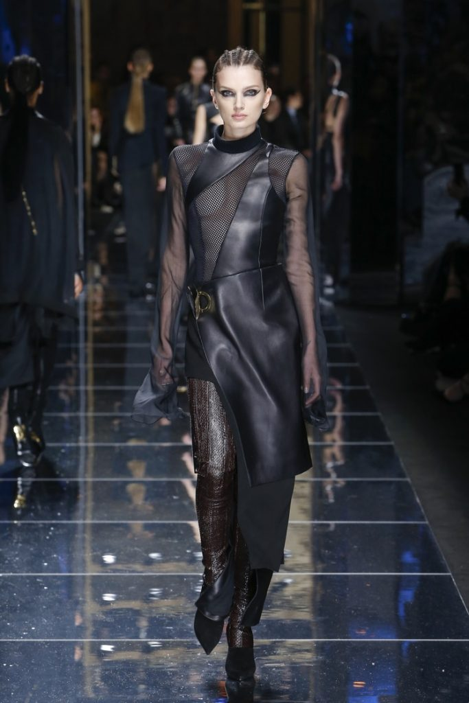 balmain-fw17-rtw-fall-winter-2017-18-collection (75)-black-leather-outfit-sheer-details