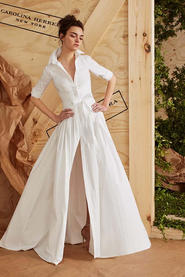 carolina-herrera-bridal-spring-summer-2017-collection (6)-fron-slit-white-dress-sleeves-collar