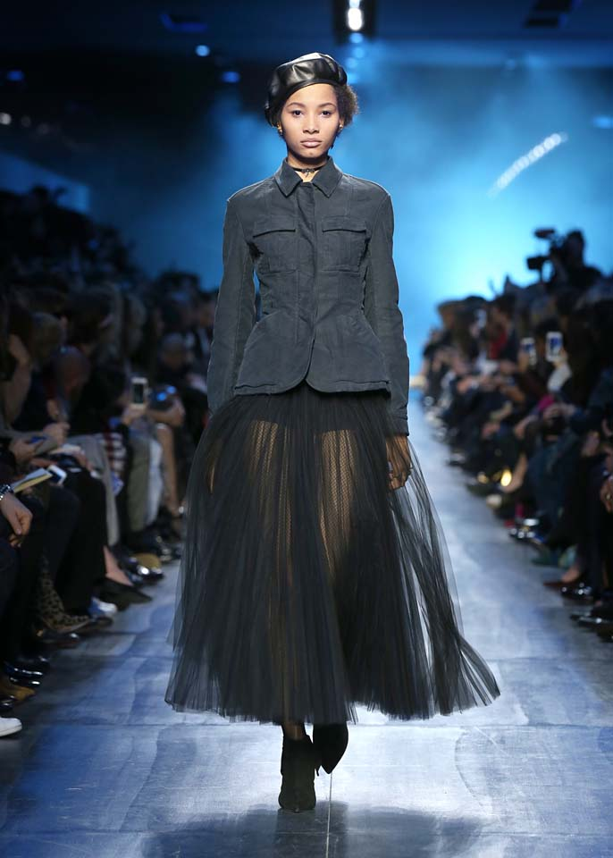 dior-fw17-rtw-fall-winter-2017-18-collection (24)-sheer-skirt-cap
