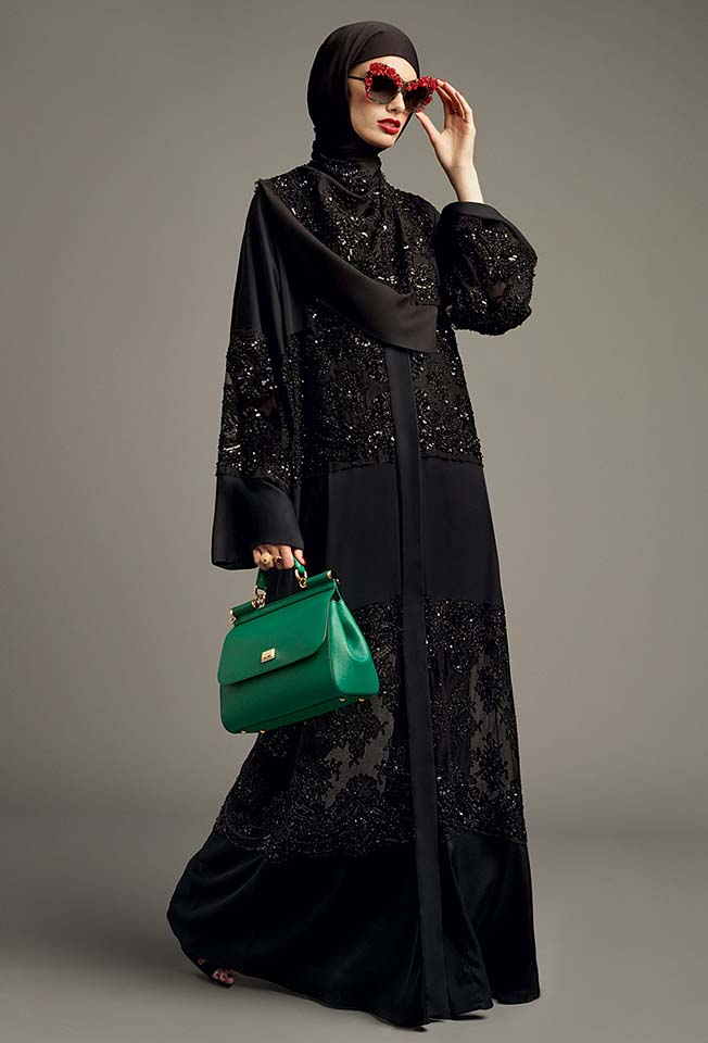 dolce-gabbana-abaya-fashion-hijab-muslim-women-style (5)-black-green-bag