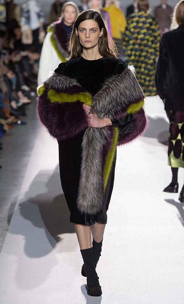 dries-van-noten-fw17-fall-winter-2017-collection-01 (55)-velvet-dress-fur-scarf