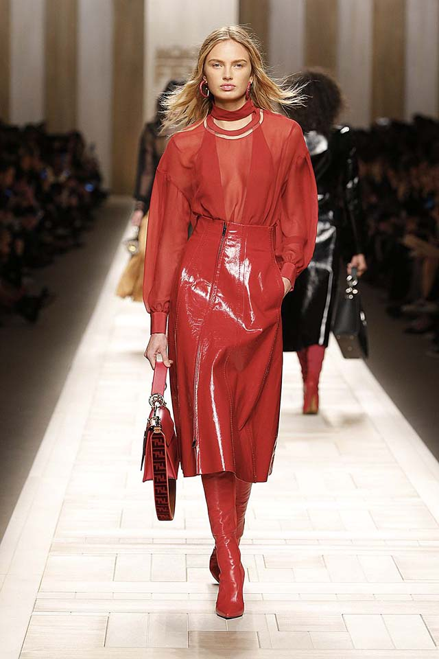 fendi-fw17-rtw-fall-winter-2017-18-collection (40)-red-sheer-leather-skirt