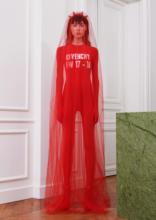 givenchy-fw17-rtw-fall-winter-2017-18-collection-all-red-outfit (1)-jumpsuit-sheer-cape