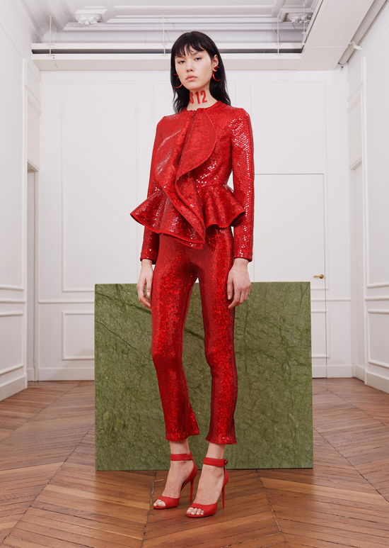 givenchy-fw17-rtw-fall-winter-2017-18-collection-all-red-outfit (25)-metallic-dress