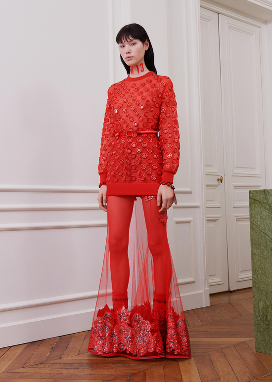 givenchy-fw17-rtw-fall-winter-2017-18-collection-all-red-outfit (26)-sheer-skirt