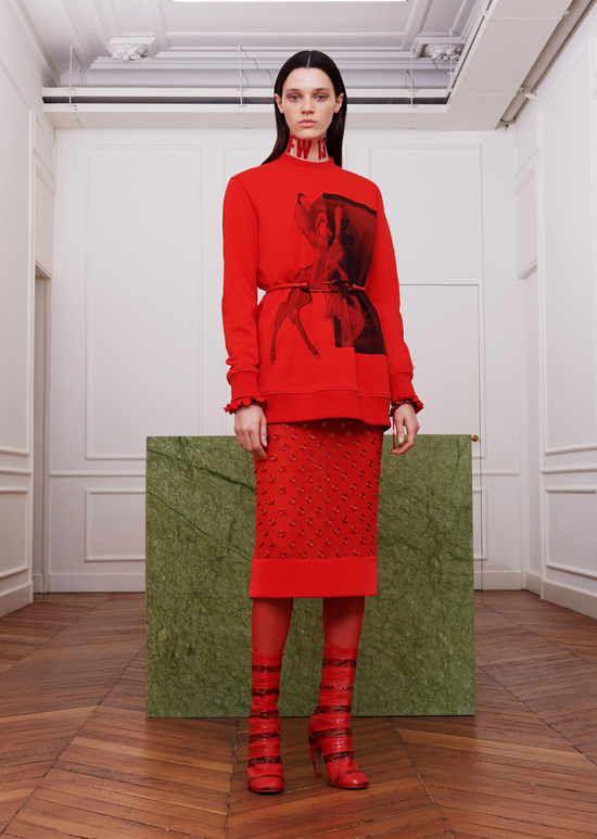givenchy-fw17-rtw-fall-winter-2017-18-collection-all-red-outfit (3)-studded-skirt-graphic-print-top