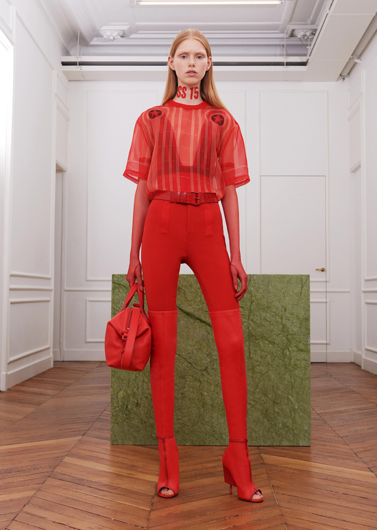 givenchy-fw17-rtw-fall-winter-2017-18-collection-all-red-outfit (4)-sheer-top-leggings-boots