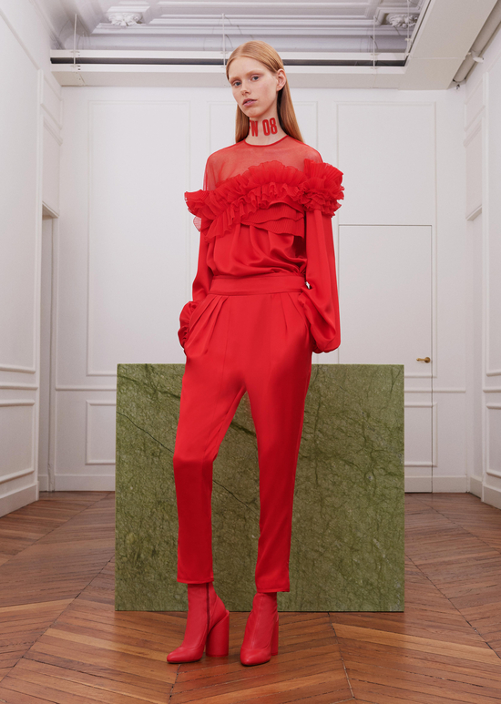 givenchy-fw17-rtw-fall-winter-2017-18-collection-all-red-outfit (6)-ruffles-sheer-pant-top