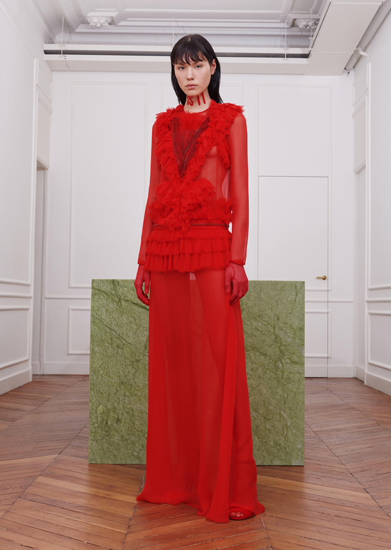 givenchy-fw17-rtw-fall-winter-2017-18-collection-all-red-outfit (7)-sheer-skirt-gown