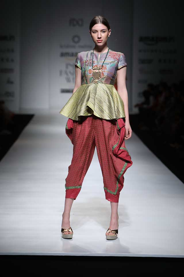 krishna-mehta-aifw-2017-fashion-show-dress-designer-indowestern-outfit (2)-peplum-dhoti-red