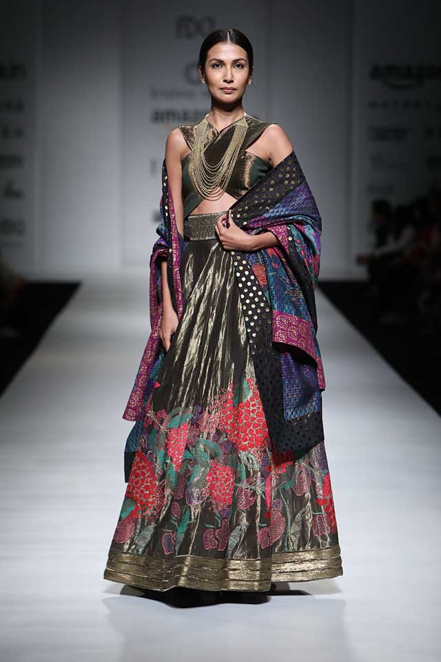 krishna-mehta-aifw-2017-fashion-show-dress-designer-indowestern-outfit (4)-black-copper-lehenga-blue-crop-top