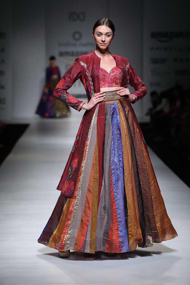 Krishna Mehta collection-aifw-2017-fashion-show-dress-designer-indowestern-outfit (5)-multicolored-lehenga-jacket