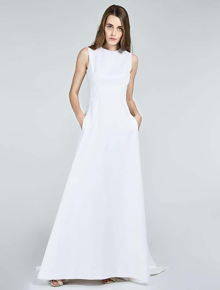 max-mara-bridal-fall-winter-2017-collection (25)-pockets-sleeveless-white-gown