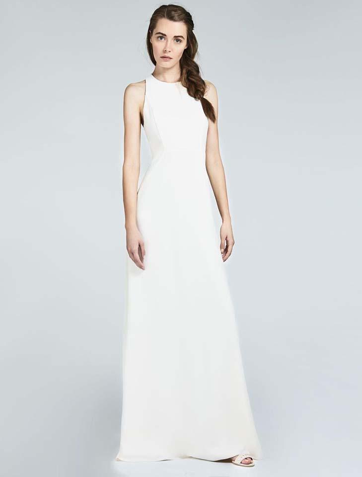 max-mara-bridal-fall-winter-2017-collection (4)-braid-bride-hairstyles-white-gown