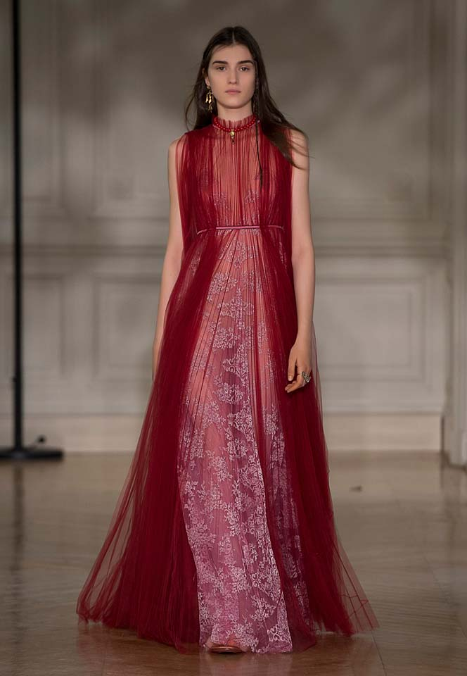 valentino-fw17-rtw-fall-winter-2017-18-collection (59)-red-pink-pleated-gown-sheer