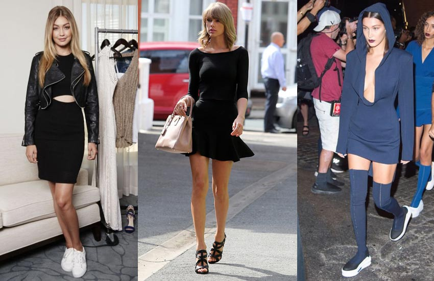 how-to-wear-dresses-with-flats-tay;or-swift-bella-hadid-night-outs-fashion-sandals-sneakers-2017-2018