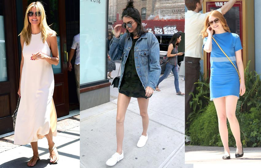 how-to-wear-flats-with-dresses-casual-look-fashion-celebs-kendall-jenner-emma-stone-2017-2018