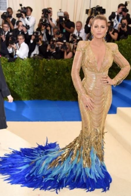 met-gala-2017-celeb-style-dresses-gold-blue-feathers-outfit-blake-lively-versace-