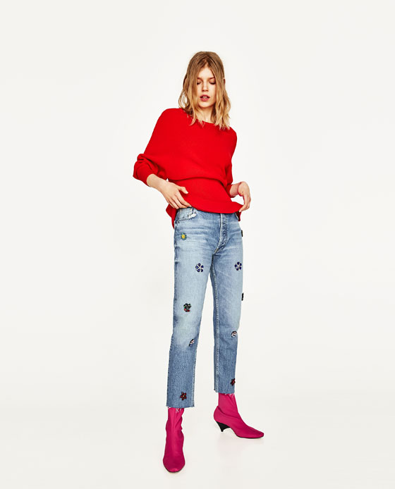 zara-peplum top outfit-sweater-red-embellished-jeans-boots