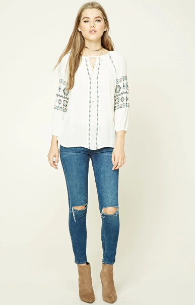 best-friday-dressing-forever21-women's-work-clothes-peasant-top-outfit-ideas