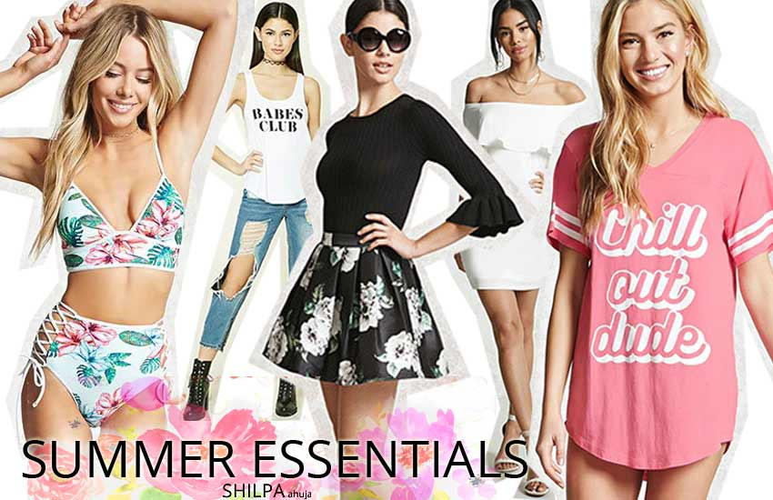 summer essentials tee-shirt-swim-suit-must-haves-dress