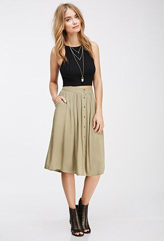 what-to-wear-on-friday-to-wear-casual-outfit-ideas-knee-length-skirt-forever21