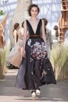 DIOR_Haute Couture-AW2017-fall-winter-2017-dresses (57)-plunging-v-neck-dark-grey-floral-dress-sandals