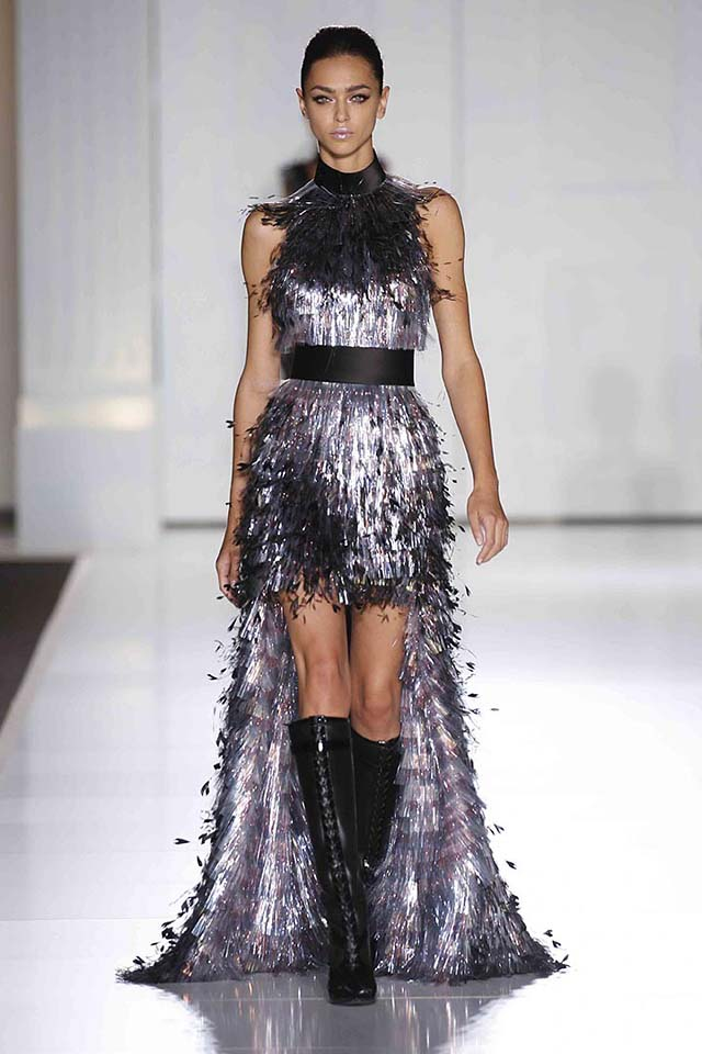 Ralph-russo-haute-Couture-aw17-look-(8)-sliver-foil-fringes-high-low-dress
