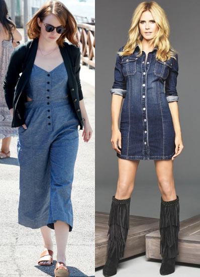 how-to-wear-denim-dresses-for-a-nite-out-dungarees-buttoned-dress-fall-2017