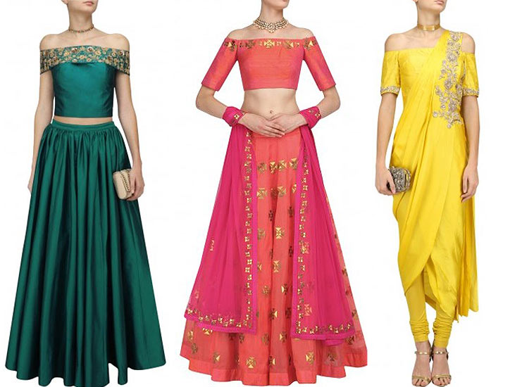 latest-mehn di-outfits-for-brides-Off-Shoulder-indian-designer-dressesjpg