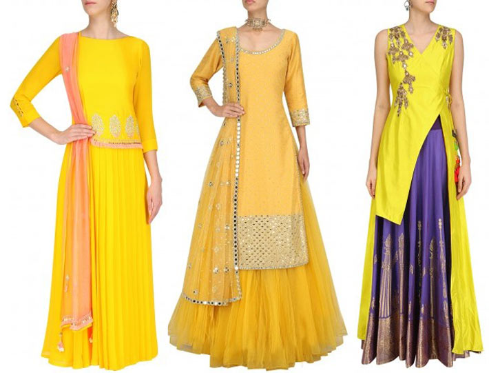 mehndi-outfits-indian-designer-dresses-bright-colors-Lancha-long-top-dupatta