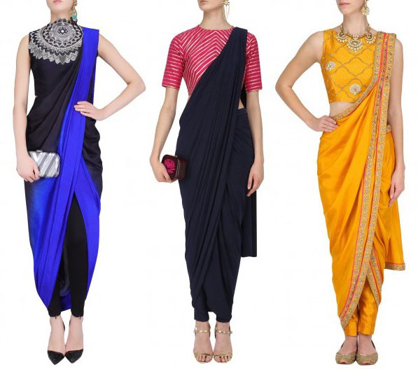 pre-stiched-sarees-paired-with-chooridaar-style-fashion-matching-contrast-colors-fall-2017