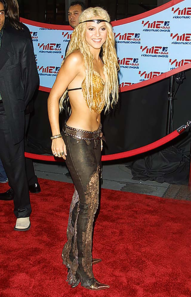 2001-shakira-black-sheer-pants-bralette-gold-rocstar-look