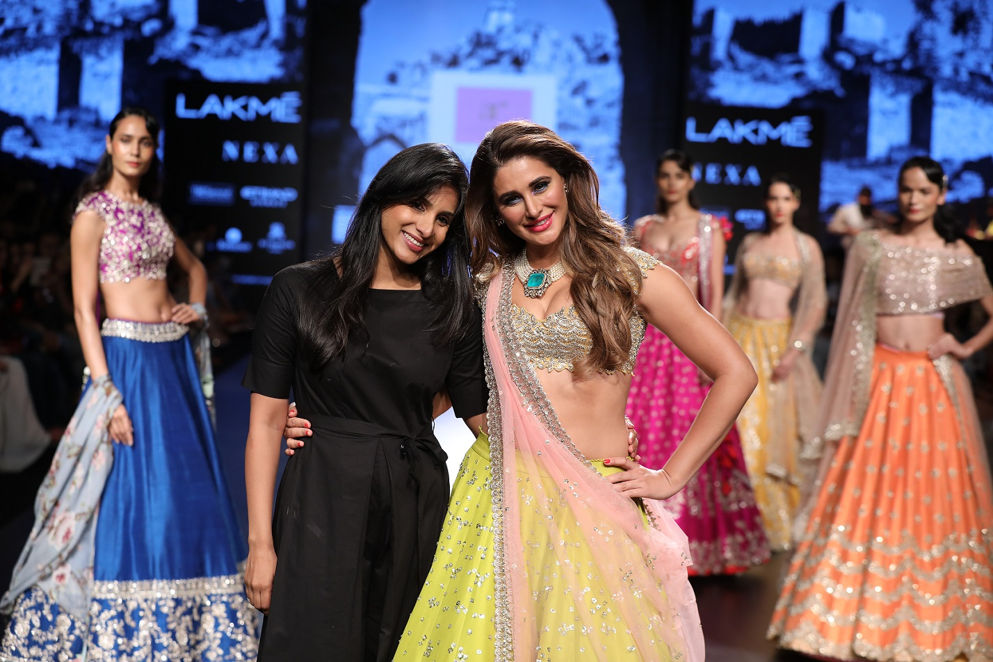 Designer Anushree Reddy with show stopper Nargis Fakhri at her show during Lakme Fashion Week WF 17