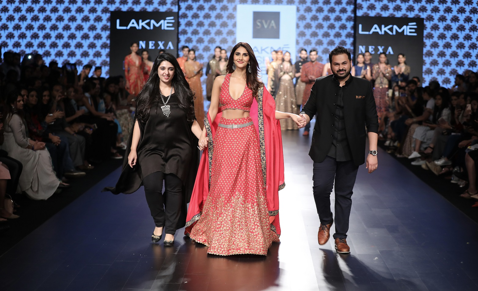 Designers Sonal and Paras Modi of SVA with showstopper Vani Kapoor at Lakme Fashion Week WF 17