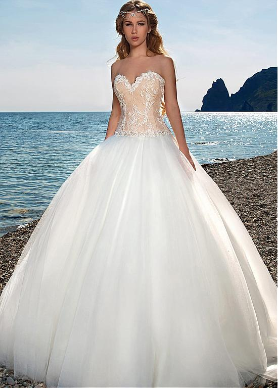 Dressilyme Gorgeous Polka Dot Tulle & Tulle Sweetheart Neckline Ball Gown Wedding Dresses With Detachable Jacket