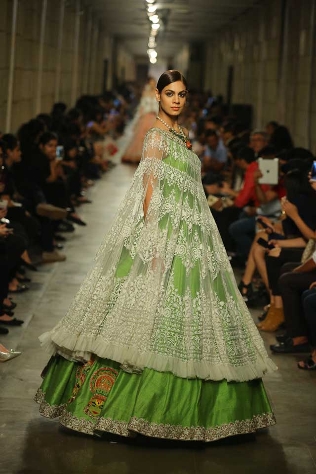 Manav-Gangwani-India-Couture-Week-2017 (8)-ruffled-cape-top-green-dress