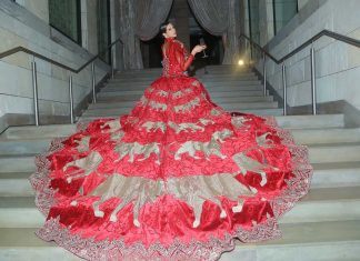 Manav-Gangwani-India-Couture-Week-2017-(r)-red-long-trail-embroidered-gown-sheer-sleeves