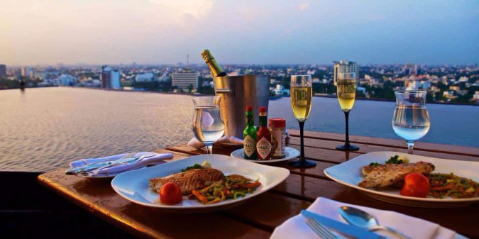 The Crown-infinity-pool-romantic-Best Rooftop Restaurants-in-chennai-romantic-candle-light-dinner