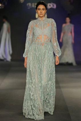 best-fashion-indian-couture-week-2017-grey-sheer-embroidered-dress-designer-gaurav-gupta