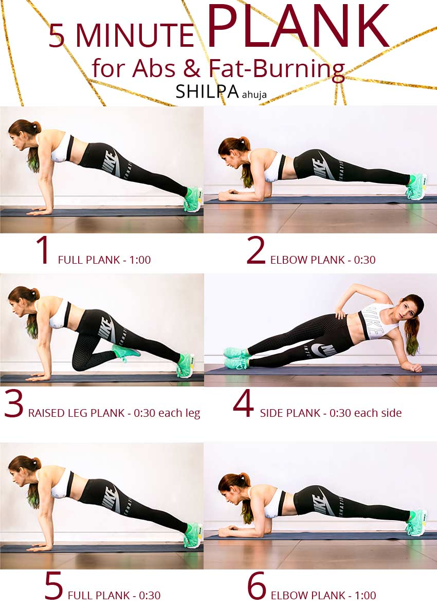easy-six pack exercise 6 pack abs at home-5 minute PLANK workout routine
