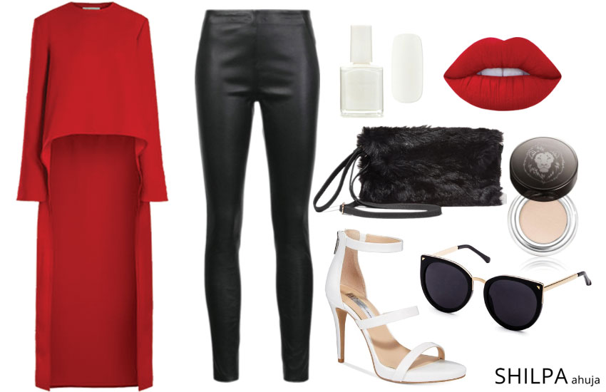 how-to-wear high-low fashion -fall-2017-leather-pants-glam-look-date-outfit-idea