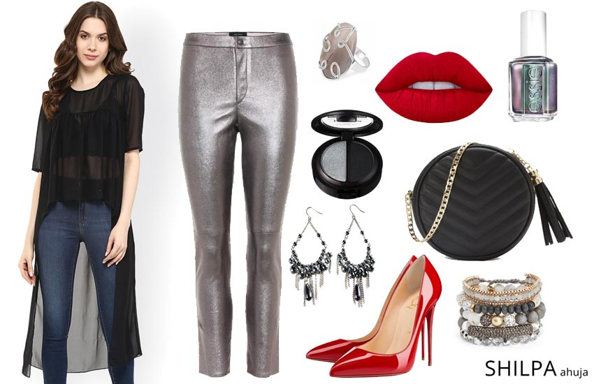 sheer-long-top-fashion-advice-popular-party-wear-outfit-ideas-metallic-pants